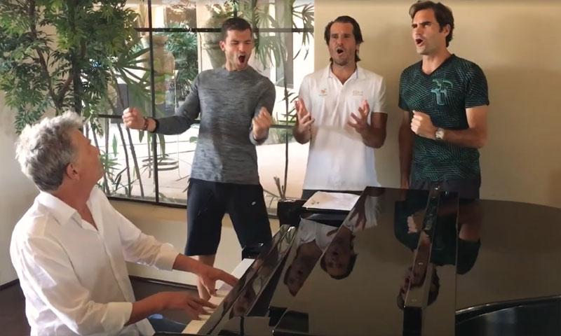 'BackhandBoys', la nueva 'banda musical' formada por los tenistas Federer, Djokovic, Dimitrov y Haas