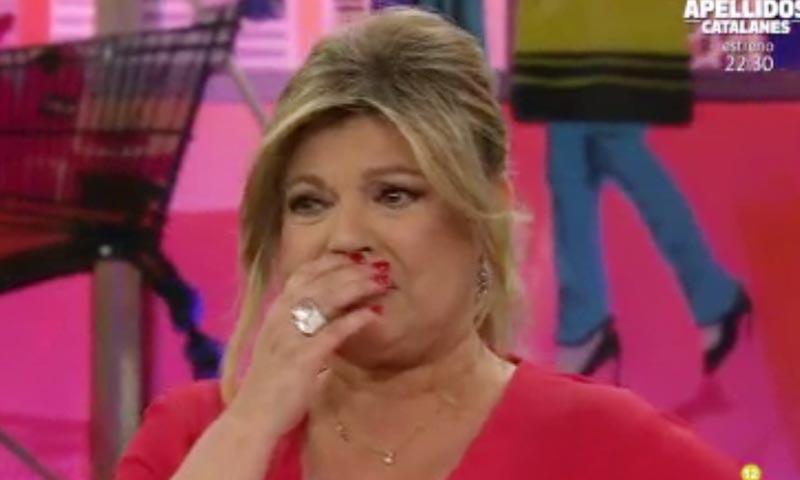 Las lágrimas de emoción de Terelu Campos al volver al trabajo, tres días después del ingreso de su madre