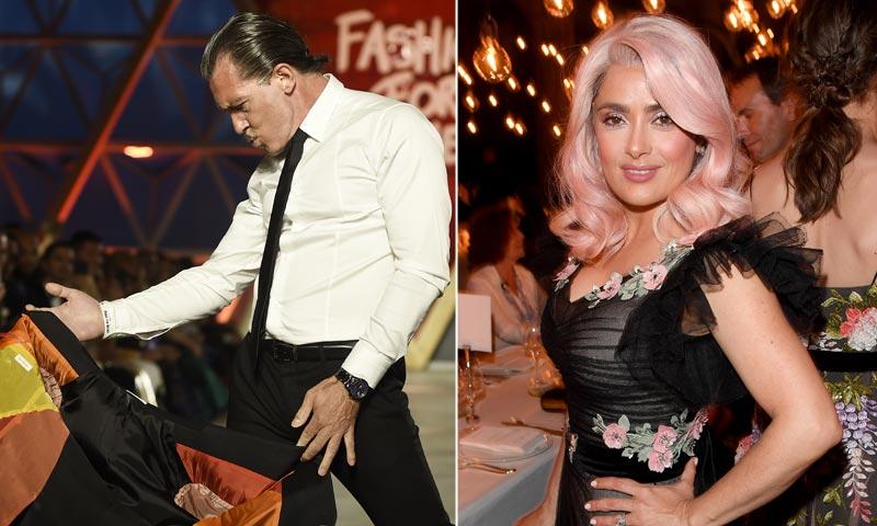 La faena taurina de Antonio Banderas y la melena de impacto de Salma Hayek son aplaudidas en Cannes