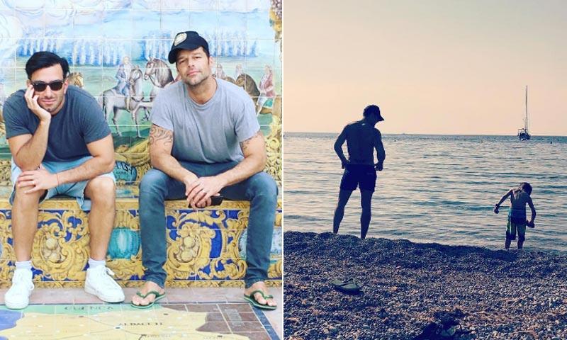 Playa con sus hijos y turismo con su pareja... el periplo de Ricky Martin por España