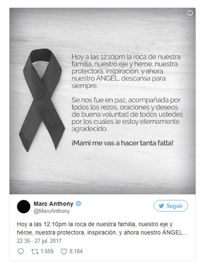 El Emotivo Mensaje De Marc Anthony Tras El Fallecimiento De Su Madre