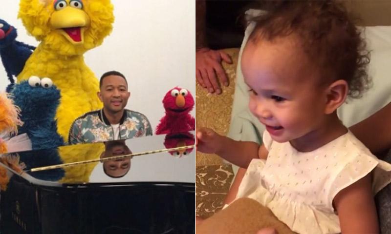 ¡Adorable! La reacción de la hija de John Legend al ver a su padre en Barrio Sésamo