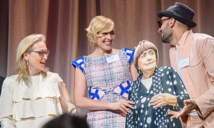 Meryl Streep y Greta Gerwig con Agnes Varda y JR