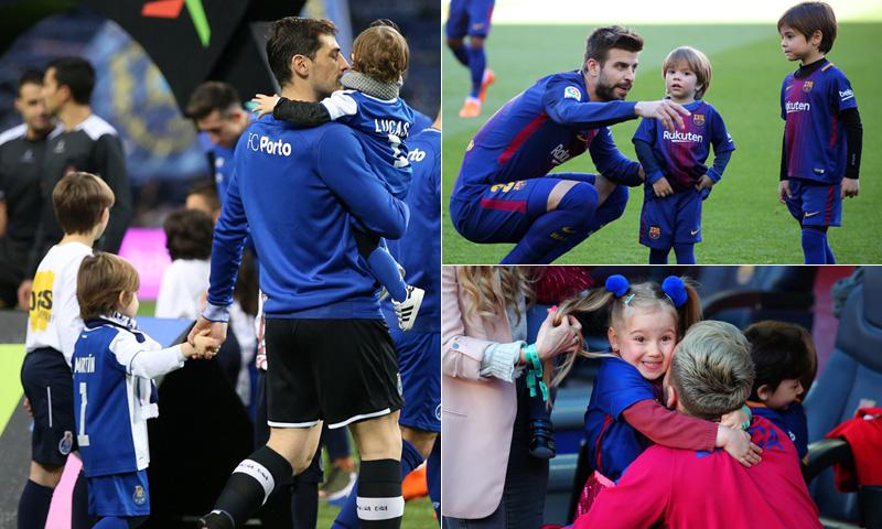Casillas, Piqué, Rakitic... ¡saltan al campo con sus hijos!