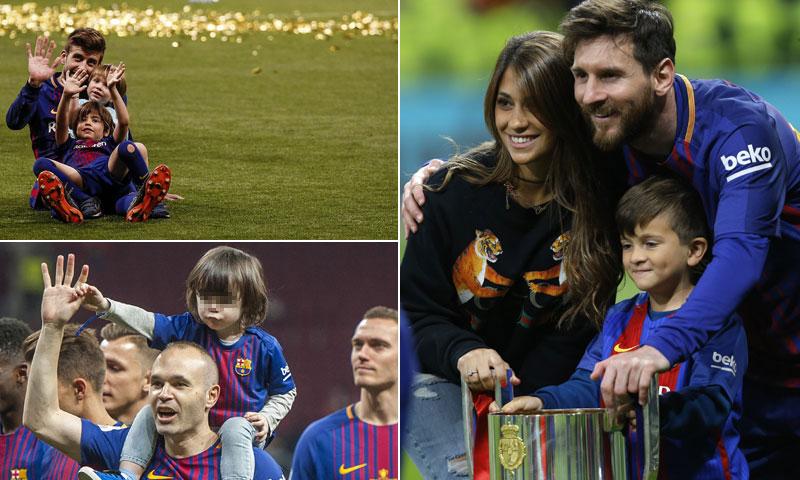 La alegría de los jugadores del Barça y sus hijos tras ganar la Copa del Rey