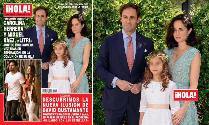 En ¡HOLA!, Carolina Herrera y Miguel Báez 'El Litri' juntos por primera vez tras su separación, en la comunión de su hija