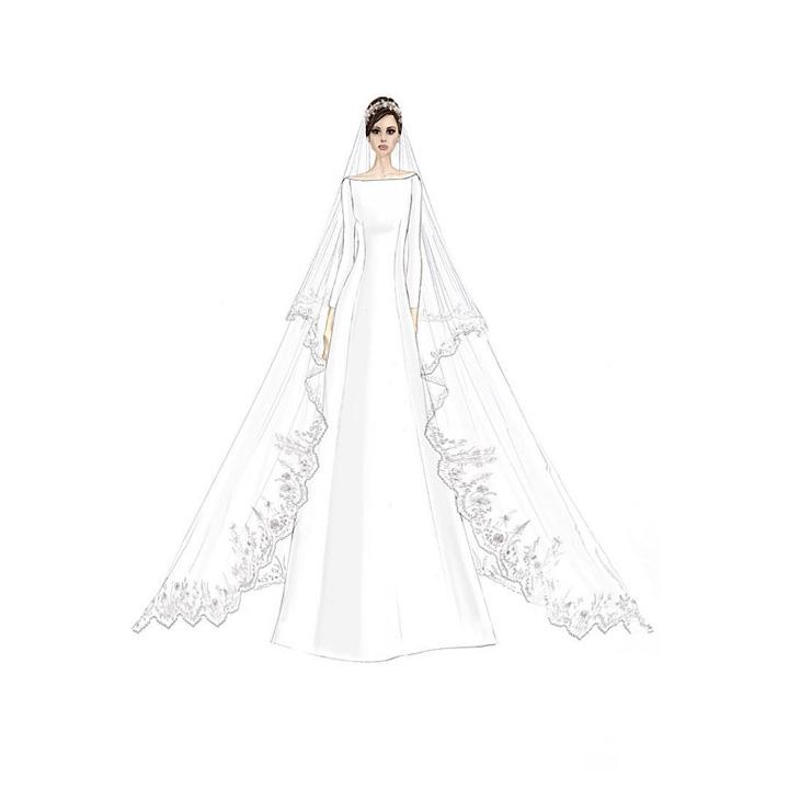 boda príncipe harry y meghan markle: detalles del vestido y bocetos