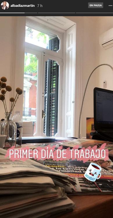 Alba Díaz pone fin a sus vacaciones universitarias con el primer día de trabajo