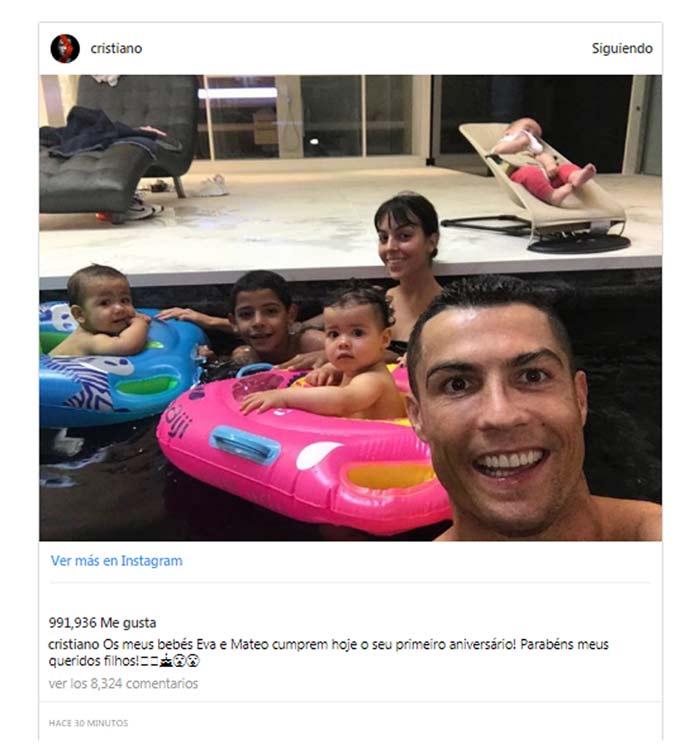 Cristiano Ronaldo con sus hijos y Georgina Rodríguez
