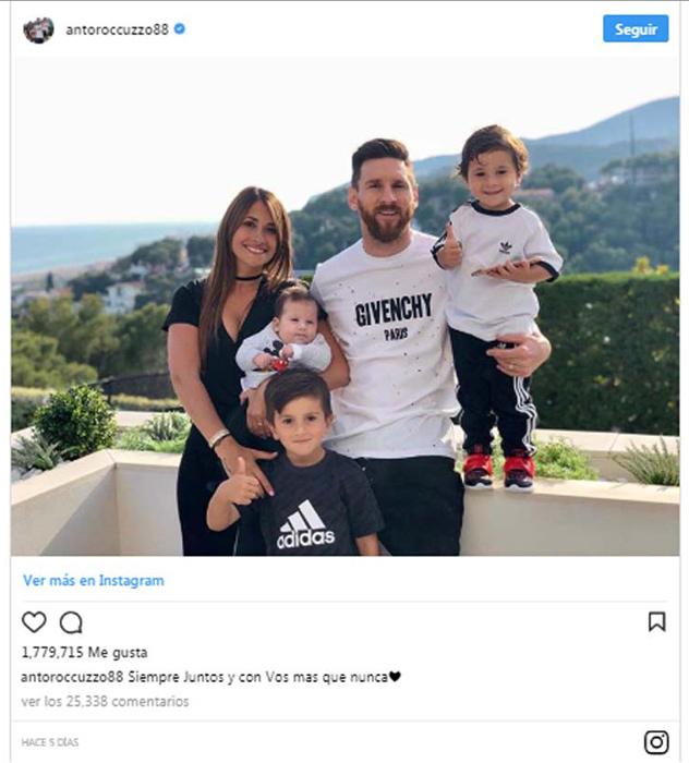 Antonela Roccuzzo, Leo Messi y sus hijos
