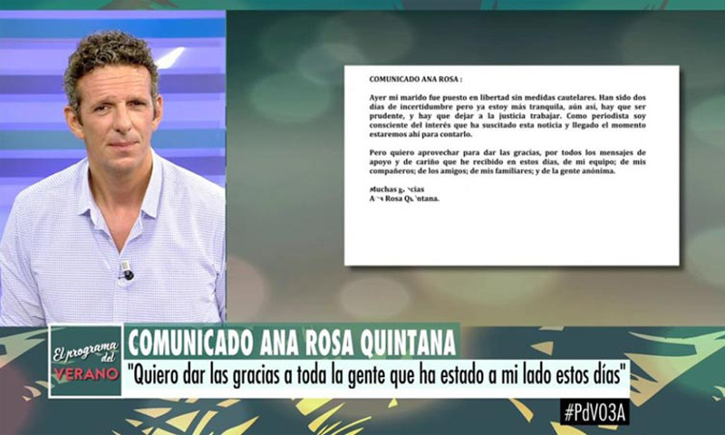 Joaquín Prat, el encargado de transmitir las primeras palabras de Ana Rosa que ha vivido 'días de incertidumbre'