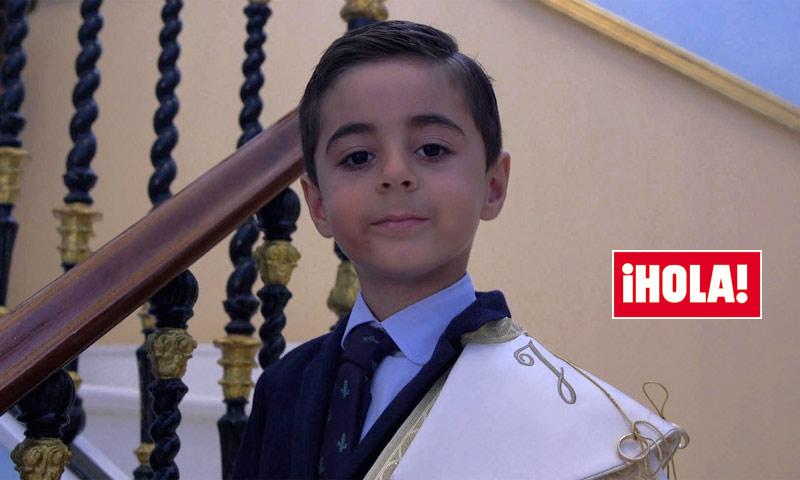 El pequeño José María, un 'minitorero' en la boda de su padre, Ortega Cano