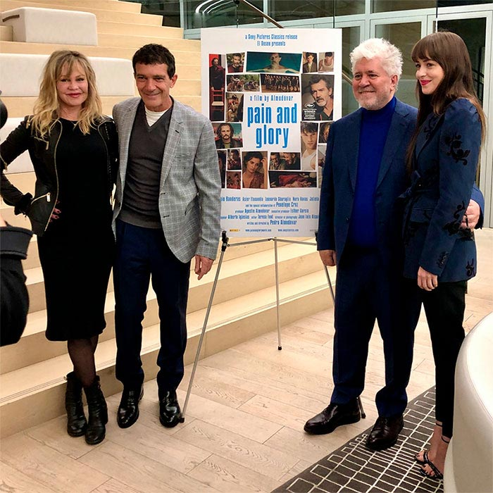 Antonio Banderas, Pedro Almodóvar, Dakota Johnson y Melanie Griffith