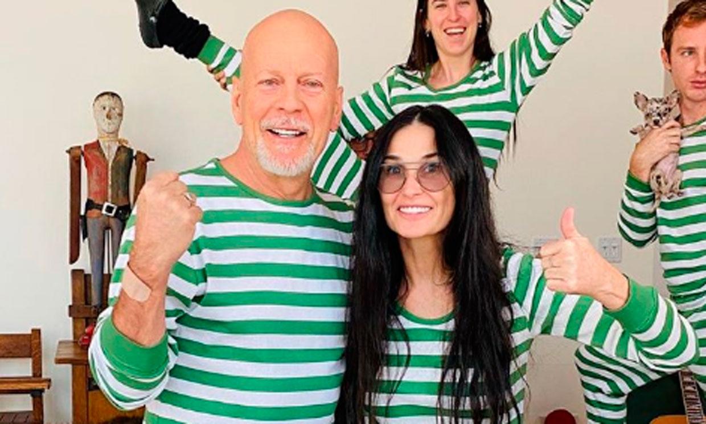 Bruce Willis y Demi Moore pasan juntos la cuarentena ¡y con pijamas a juego!