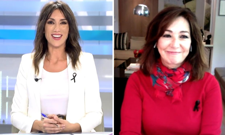 Ana Rosa Quintana conecta en directo con su programa desde el salón de su casa y con un acompañante inesperado