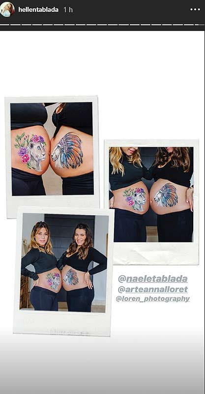 Elena Tablada y su hermana haciendo body painting