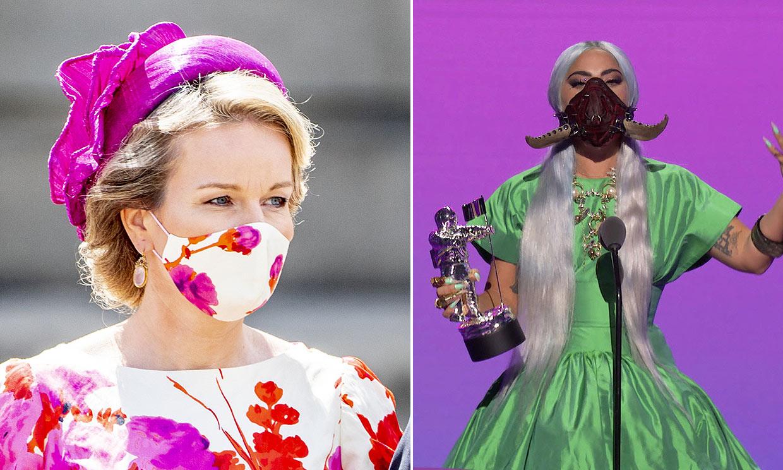 Matilde de Bélgica, Lady Gaga... 'celebs' y 'royals' arriesgan con sus modelos de mascarillas