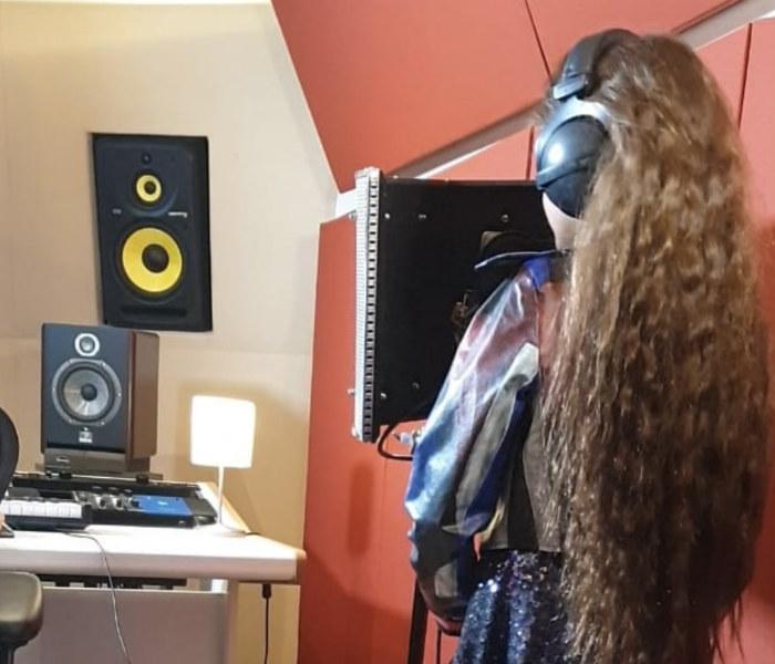 Soleá en el estudio de grabación