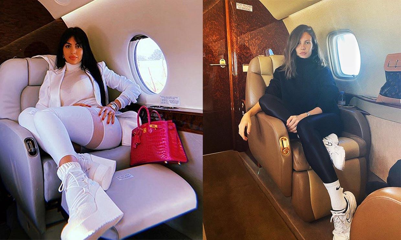 Jessica Bueno, al más puro estilo Georgina, en un avión privado de regreso a España