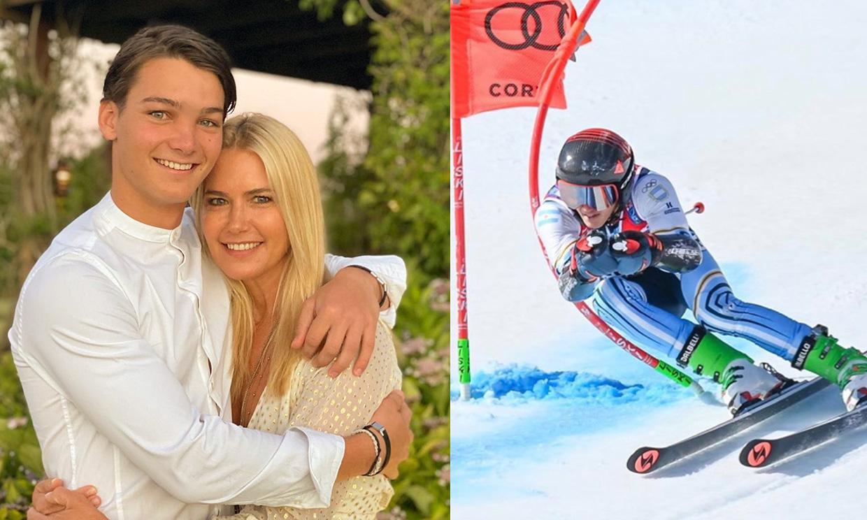 Valeria Mazza, muy orgullosa con el resultado de su hijo Tiziano, de 18 años, en el Mundial de esquí