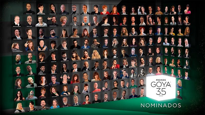 Foto de familia de los nominados a los Goya 2021