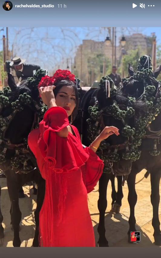 Rachel Valdés vestida de flamenca