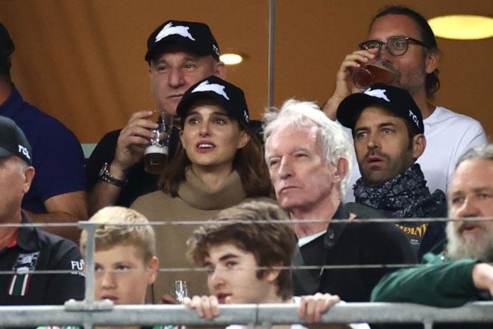Natalie Portman y Benjamin Millepied con Russell Crowe