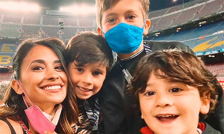 Las imágenes más bonitas de los hijos de Messi y Antonela en una noche para el recuerdo