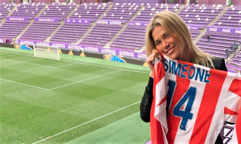El beso de película de Carla Pereyra a Simeone y otras celebraciones por la victoria del Atleti