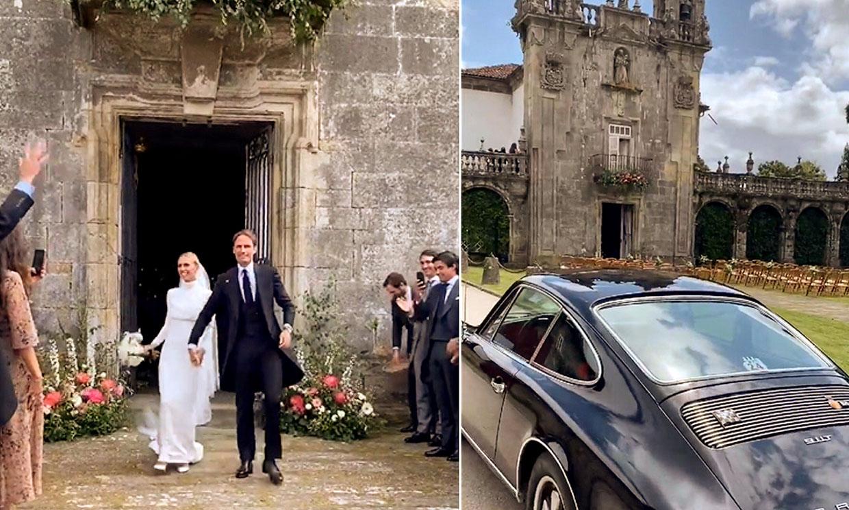 El espectacular coche de los novios, la banda de gaiteros y todos los detalles de la boda de Lucía Bárcena y Marco Juncadella