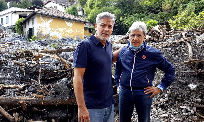 George Clooney recorre los lugares afectados por las desastrosas inundaciones en el Lago Como y ayuda a las víctimas