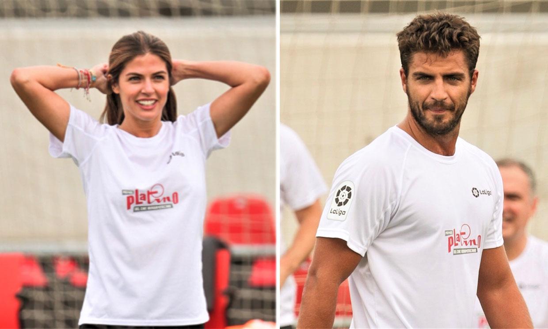 Maxi Iglesias y Stephanie Cayo demuestran su habilidad con el balón en la antesala de los Premios Platino