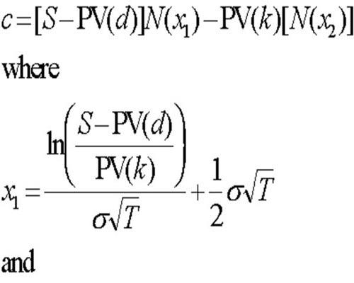 Una parte de la ecuación Black-Scholes