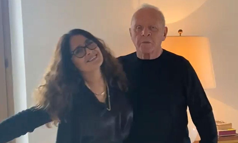 El divertido baile con el que Anthony Hopkins celebra su Oscar junto a Salma Hayek