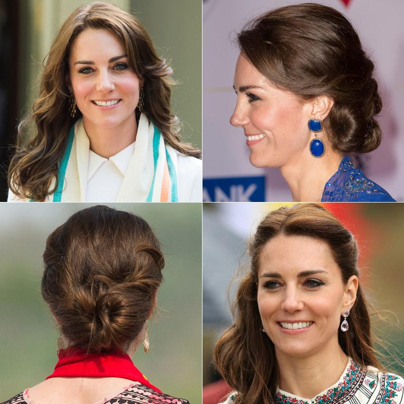 Foto a foto, los 'beauty looks' de la Duquesa de Cambridge en su viaje a India y Bután