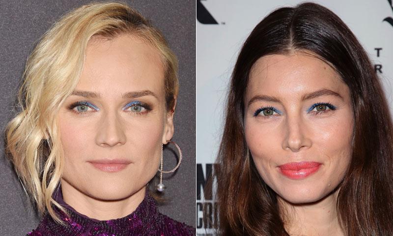 Miradas 'blue': Diane Kruger y Jessica Biel desafían al color de moda