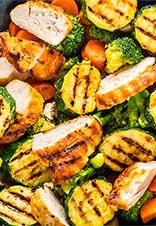 Pechuga de pollo braseada con verduras