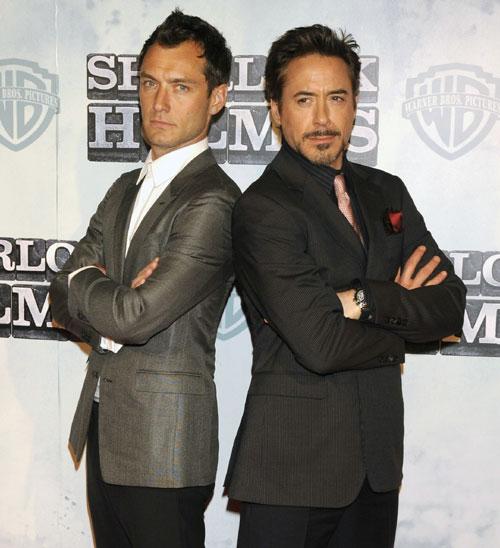 Robert Downey Jr. y Jude Law, dos atractivos detectives en 'Sherlock Holmes', presentan la película en Madrid
