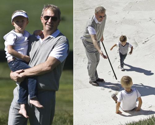 Kevin Costner, el mejor 'profe' de golf para sus hijos Cayden y Hayes