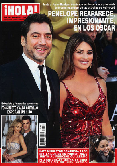En la revista ¡HOLA!: Penélope reaparece, impresionante, en los Oscar