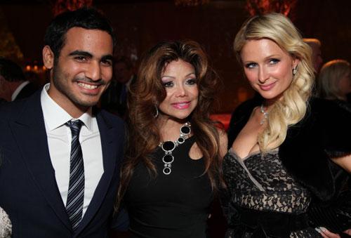 El príncipe Mohammad Bin Hamad, La Toya Jackson y Paris Hilton