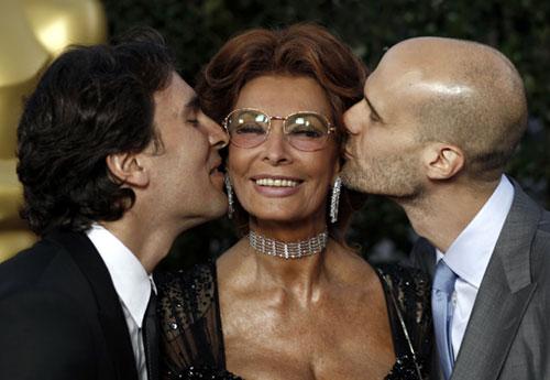 Sofía Loren y sus hijos, Edoardo y Carlo Ponti