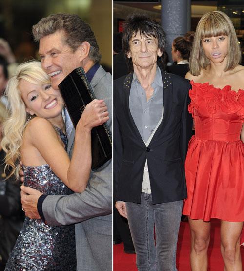 David Hasselhoff y Ronnie Wood presumen de sus jovencísimas novias en el estreno de la última película de Tom Hanks, 'Larry Crowne'