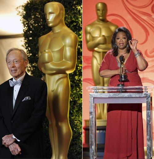 Oprah Winfrey, la persona más poderosa de la televisión, recibe emocionada su Oscar de honor
