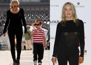 Sharon Stone en París: turismo de día con su hijo Quinn y solidaridad de noche