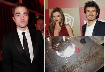 El cumpleaños de Orlando Bloom, un solitario Pattinson, la coincidencia del novio y los ex de Jennifer López en las fiestas de los Globo de Oro