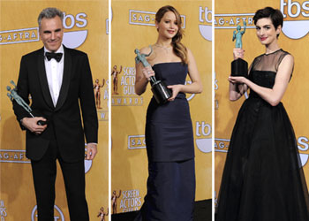Daniel Day-Lewis, Jennifer Lawrence y Anne Hathaway, u