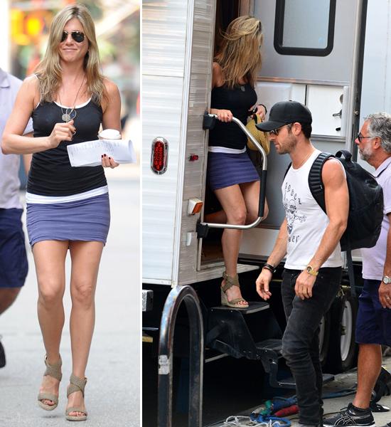 ¡Sorpresa! La sonrisa de Jennifer Aniston tras recibir la visita de Justin Theroux en el set de rodaje