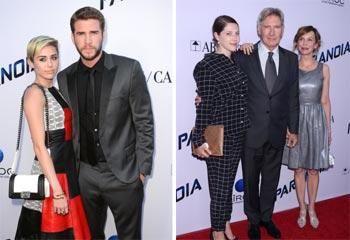 Liam Hemsworth, con Miley Cyrus, y Harrison Ford, en familia, dos atractivos de Hollywood de estreno