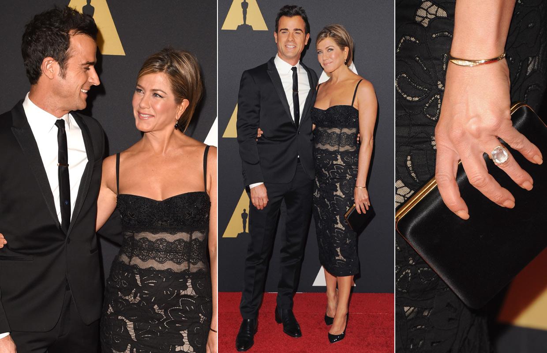 Jennifer Aniston y Justin Theroux presumen de amor en la entrega de los Oscar honoríficos